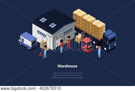 Detailed Vector Illustration Of Warehouse. Isometric Composition In Cartoon 3d Style. Building With