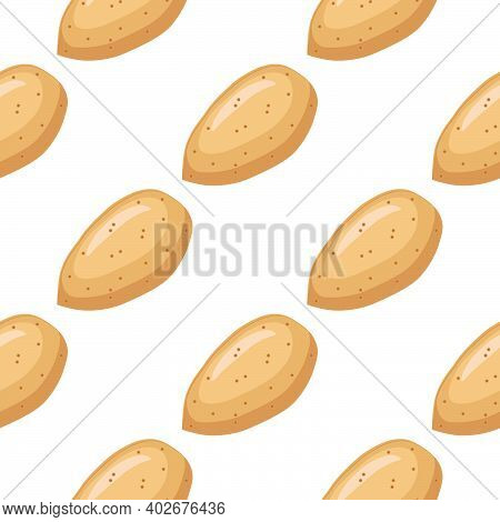 Illustration On Theme Big Pattern Identical Types Almond, Nut Equal Size. Almond Pattern Consisting