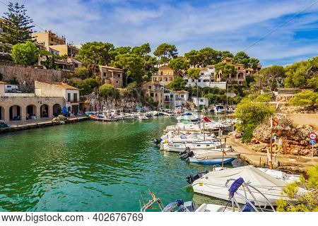 Panoramic View Of The Bay Marina Cala Figuera Mallorca Spain.
