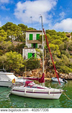 Panoramic View Of The Bay Marina Cala Figuera Mallorca Spain.