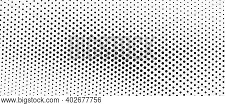 Black And White Halftone Concept. Vector Spotted Monochrome Pattern. Dotted Curved Lines. Asymmetric