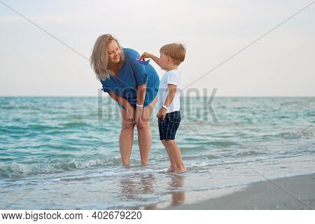 Mother Son Spending Time Together Sea Vacation Young Dad Child Little Boy Walking Beach Mother Day.