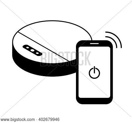 Black Line Icon Of A Robot Vacuum Cleaner Controlled From A Phone. Household Appliances Simple Handy