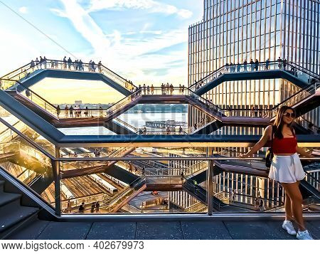 Beautiful View Of The Vessel (hudson Yards Staircase) During A Beautiful Sunset In The Background In