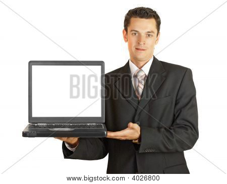 Businessman Holding His Laptop With White Screeen