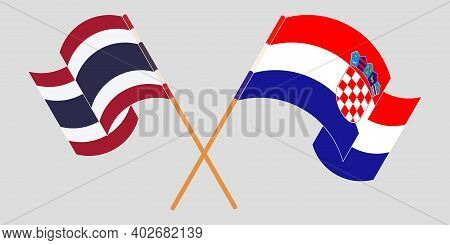 Crossed And Waving Flags Of Croatia And Thailand. Vector Illustration