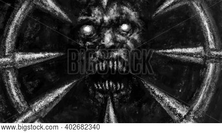 Scary Demon Face Illustration Fearfully Devil Mask With Spikes. Horror Fantasy Digital Art. Spooky 2