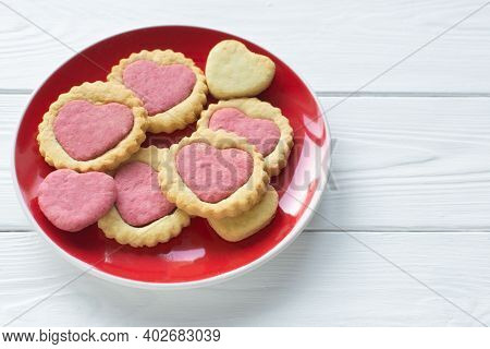 Valentine's Day Cookies On A Plate Step By Step 5. Cooking Instructions. Love Concept. Homemade Hear