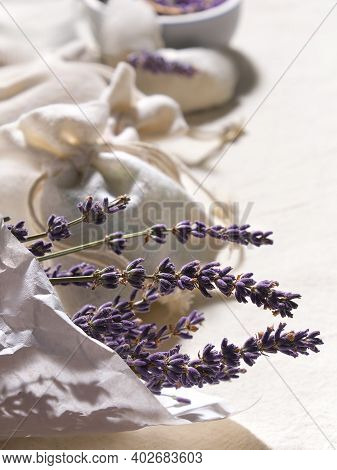 Hand Made Lavender Sachets In Textile Bags And Cotton Hearts On Cotton Tablecloth, . Low Impact Life