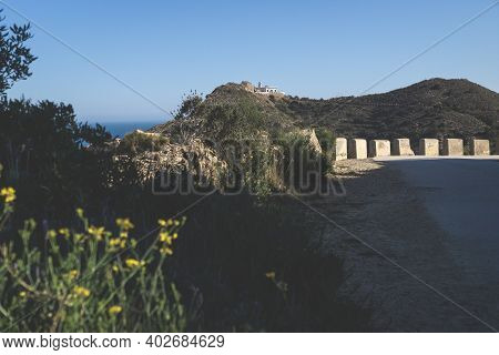 Sunny Walking Path Surrounded By Flowers In The Natural Park Serra Gelada Towards The Lighthouse On