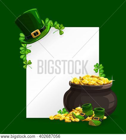 St. Patricks Day Vector Poster With Leprechaun Hat, Pot With Gold And Clover Leaves, Lucky Shamrock,