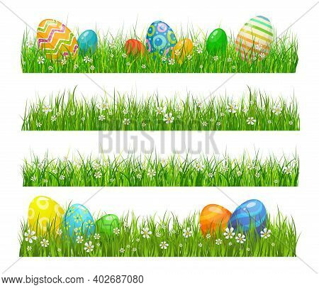 Easter Green Grass With Eggs And Flowers, Cartoon Vector Borders. Painted Eggs Lying At Green Grass