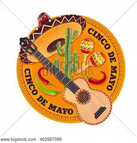 Cinco De Mayo Fiesta Holiday, Happy May Party Celebration In Mexico, Vector. Cinco De Mayo Mexican H