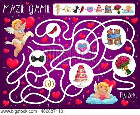 Valentine Day Child Labyrinth Maze With Amours And Wedding Attributes. Kids Educational Game, Playin