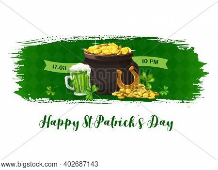 Happy Patricks Day Vector Banner With Shamrocks, Pot Of Gold Coins, Pint Of Ireland Ale Beer. Cartoo