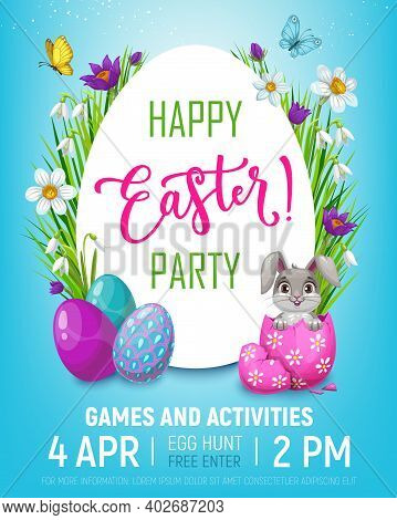 Easter Egg Hunt Kid Party Vector Invitation Poster With Cartoon Bunny Rabbit In Eggshell. Happy East