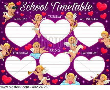 Valentine Day Child School Timetable With Amours Characters. Kids Lessons Program, Education Week Pl