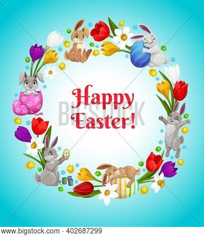 Happy Easter Vector Flower Wreath With Bunnies And Decorated Eggs. Cartoon Greeting Card, Round Fram