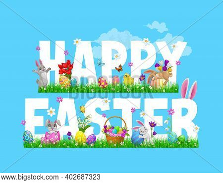 Easter Bunnies, Chicks And Egg Hunt Basket, Religion Holiday Vector Greeting Card. Spring Green Gras