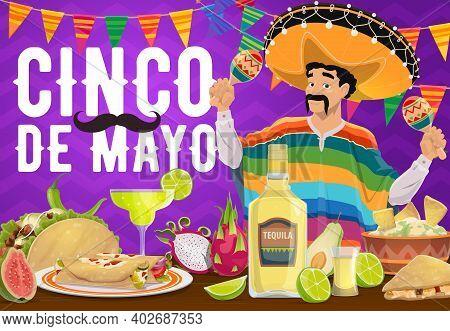 Cinco De Mayo Mexican Holiday Food And Mariachi Vector Design. Fiesta Party Musician With Sombrero H