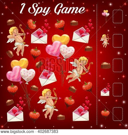Child Saint Valentine Day I Spy Game With Cherubs And Holiday Gifts. Kids Puzzle With Counting Activ