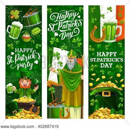 Saint Patrick Day, Irish Celtic Holiday Celebration. Vector St Patrick Man, Leprechaun With Green Be