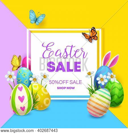 Easter Sale Vector Poster With Eggs And Bunny. Easter Holiday Offer Of Discount Price With Painted E