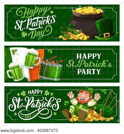 St. Patrick Day Irish Festival Holiday Vector Banners. Cartoon Leprechaun In Green Top Hat On Gold C