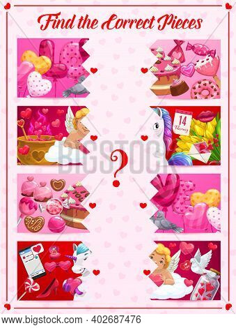 Children Find Correct Pieces Game With Saint Valentine Day Symbols. Kids Puzzle Game, Playing Activi
