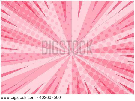 Abstract Tender Pink Striped Retro Comic Background With Halftone Corners. Lovely Background With St