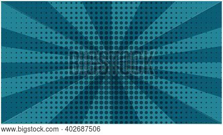 Abstract Deep Aquamarine Striped Retro Comic Background With Halftone Center. Dark Blue Backdrop Wit