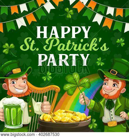 St Patricks Day Irish Holiday Party Vector Poster. Irishmen With Leprechaun Hats, Clovers And Green