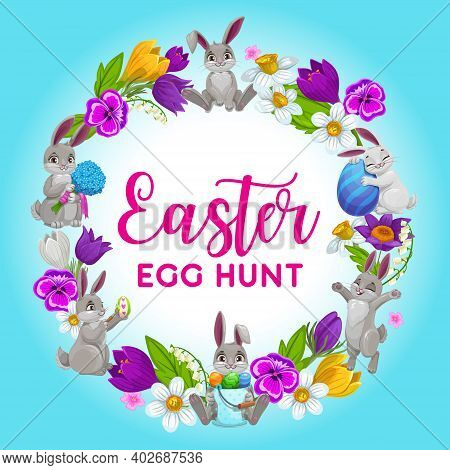 Easter Holiday Vector Frame, Flower Wreath With Bunnies And Decorated Eggs. Cartoon Greeting Card, R