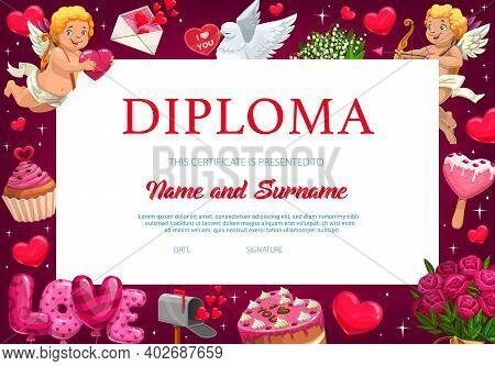 Saint Valentine Day Child Kindergarten Diploma, Certificate. Kid School Education Achievement Certif