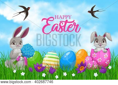 Easter Bunnies With Eggs And Flowers. Vector Easter Egg Hunt Rabbits And Painted Gifts On Green Gras