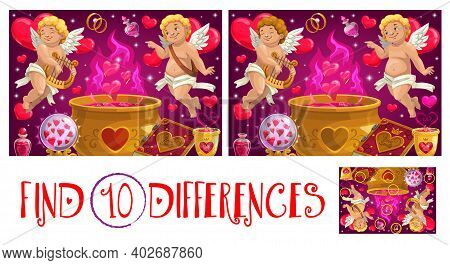 Find Ten Differences Valentine Day Logical Game For Kids With Cupids. Child Puzzle Game, Spotting Ac