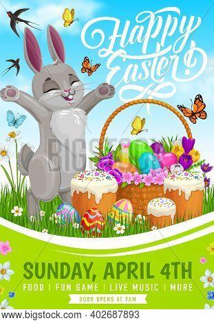 Easter Egg Hunt Party Vector Flyer. Easter Bunny With Egg Hunt Basket, Sweet Bread, Spring Green Gra