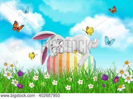 Easter Bunny Sleeping On Egg, Vector Egg Hunt, Religion Holiday. White Rabbit Character Resting On G