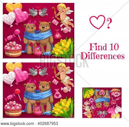 Saint Valentine Day Child Find Ten Differences Game. Kids Playing Activity With Spotting Task, Child