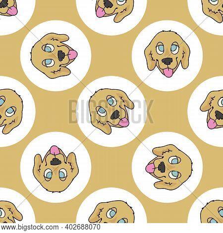 Hand Drawn Cute Golden Retriever Dog Breed In Polka Dot Seamless Vector Pattern. Purebread Pedigree