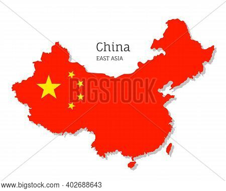 Map Of China With National Flag. Highly Detailed Editable Map Of China, East Asia Country Territory