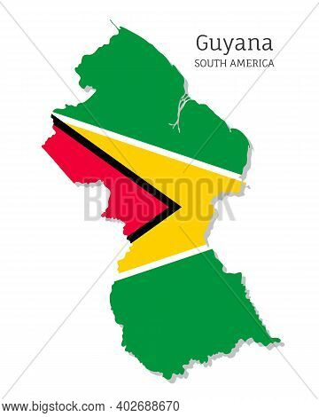 Map Of Guyana With National Flag. Highly Detailed Editable Map Of Guyana, South America Country Terr