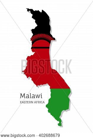 Map Of Malawi With National Flag. Highly Detailed Editable Malawian Map Of Eastern Africa Country Te