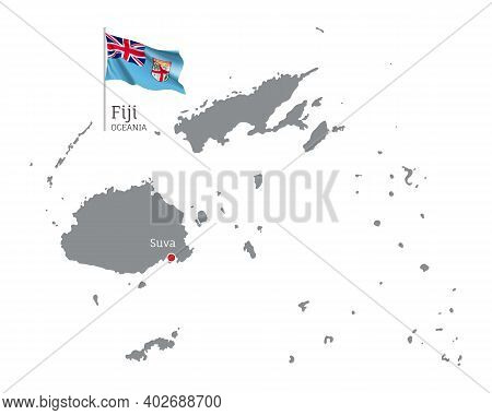 Silhouette Of Fiji Country Map. Gray Detailed Editable Map Of Fiji With Waving National Flag And Suv