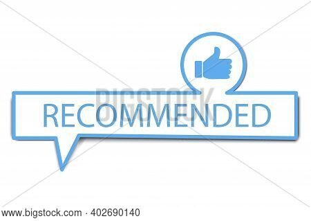 Recommend For Marketing Design. Banner Recommended With Thumbs Up. Web Banner. Stock Image.