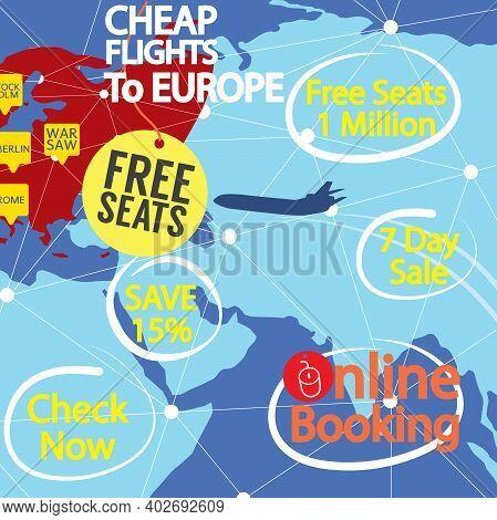 Cheap Flight To Europe Banner Vector Illustration. Eps 10