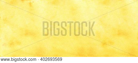 Yellow Watercolour Background, Watercolour Painting Soft Textured On Wet White Paper Background, Abs