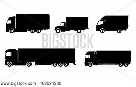Collection Of Vector Illustrations Of Truck Icons. Suitable For Design Elements Of Transportation, C