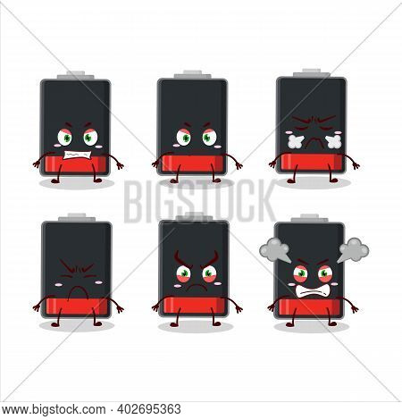 Low Battery Cartoon Character With Various Angry Expressions