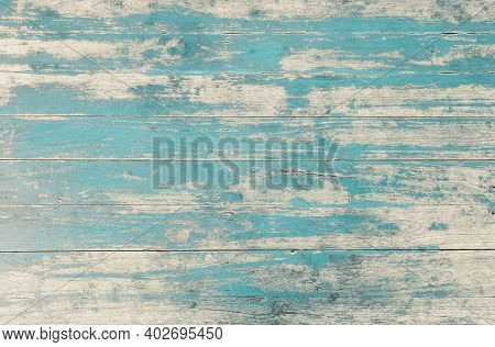 Weathered Blue Painted Wooden Wall. Vintage Blue Wood Plank Background. Old Blue Wooden Wall Coming